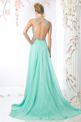 A-Line V-Neck Sleeveless Empire Chiffon Keyhole Dress With Beading And Draping