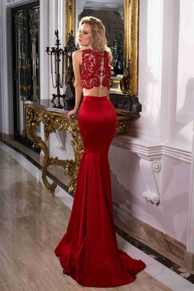Mermaid Trumpet Floor-Length Bateau Sleeveless Satin Appliques Sweep Brush Train Zipper Dress