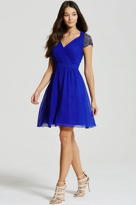 Short V-Neck T-Shirt-Sleeve Ruched Chiffon Bridesmaid Dress With Beading And Keyhole