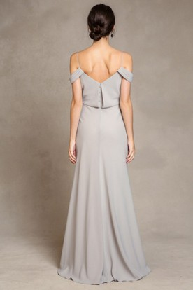 Spaghetti Sleeveless Chiffon Bridesmaid Dress With Low-V Back