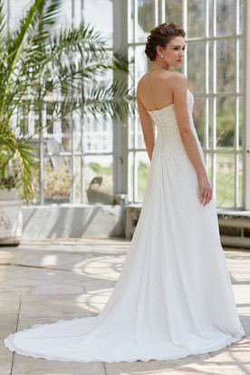 A-Line Strapless Beaded Sleeveless Floor-Length Satin Wedding Dress With Corset Back And Side Draping