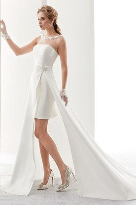 Cap Sleeve Illusion Short Satin Wedding Dress With Detachable Side-Split Overlayer And Appliques Neckline