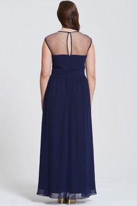 Floor-Length Scoop Neck Appliqued Sleeveless Chiffon Bridesmaid Dress