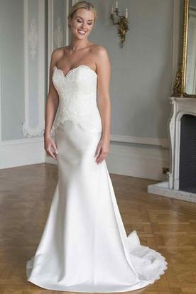 Sheath Appliqued Sweetheart Sleeveless Long Satin&Lace Wedding Dress