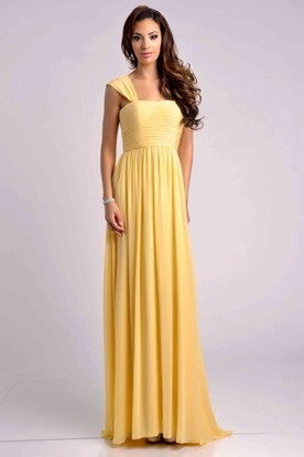 Pleated Chiffon Empire A-Line Bridesmaid Dress With Cap Sleeve