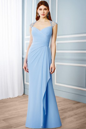 Maxi Draped Cap Sleeve V-Neck Chiffon Formal Dress