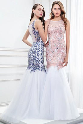 Mermaid Beaded Scoop Neck Sleeveless Tulle Prom Dress With Illusion Back