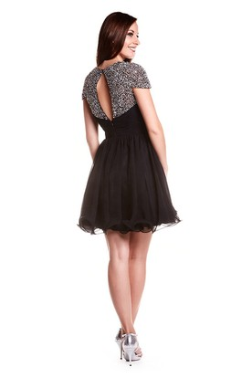A-Line Short Cap-Sleeve Sweetheart Beaded Chiffon Prom Dress With Keyhole Back