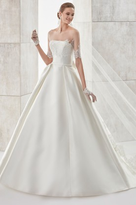 Strapless A-Line Satin Wedding Dress With Detachable Illusion Lace Coat And Back Bow