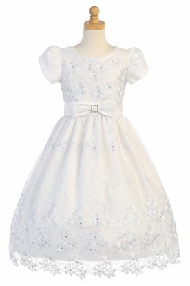 Floral Tea-Length Bowed Sequins&Organza Flower Girl Dress With Tiers