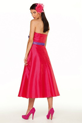 Tea-Length Sweetheart Sleeveless Criss-Cross Satin Bridesmaid Dress With Ribbon