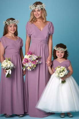 Ruched V-Neck Balloon Sleeve Chiffon Bridesmaid Dress