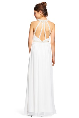 Sheath V-Neck Sleeveless Beaded Chiffon Bridesmaid Dress With Pleats And Straps