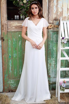 Sheath V-Neck Poet-Sleeve Chiffon Wedding Dress With Criss Cross