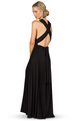 Sheath Sleeveless Ruched Long Chiffon Convertible Bridesmaid Dress