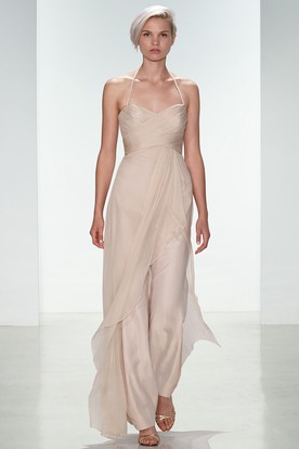 Ankle-Length Criss-Cross Spaghetti Sleeveless Chiffon Bridesmaid Dress
