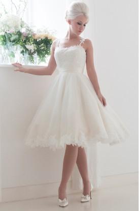 A-Line Tea-Length Spaghetti Sleeveless Appliqued Tulle Wedding Dress