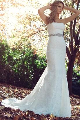 strapless lace summer wedding dress