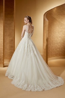 Angel Square-Neck A-Line Lace Ball Gown With V Back And Brush Train