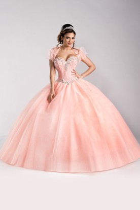 Sequined Corset Sweetheart Tulle Ball Gown With Removable Blouse
