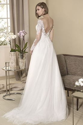 A-Line Appliqued Floor-Length Long-Sleeve Off-The-Shoulder Tulle&Lace Wedding Dress