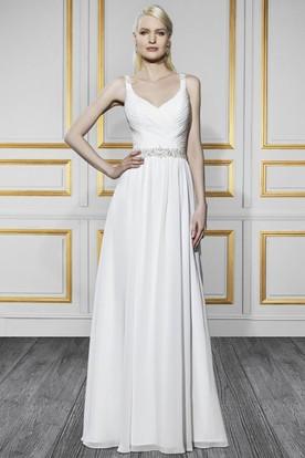 Sheath Ruched Long Sleeveless Chiffon Wedding Dress With Waist Jewellery And Backless Style