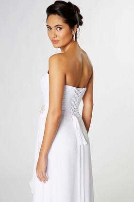 Ruched Strapless Chiffon Bridesmaid Dress With Broach And Lace-Up Back