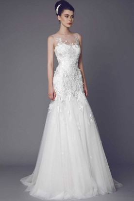 Petite wedding dresses wedding gowns for short brides ucenter bateau long appliqued tulle wedding dress with court train and illusion junglespirit Choice Image