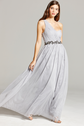 Jeweled One-Shoulder Sleeveless Chiffon Bridesmaid Dress With Straps