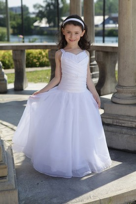 Flower Girl Drop Waist Ball Gown With Criss Cross Bodice