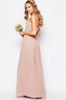 Ankle-Length Ruched Sweetheart Sleeveless Chiffon Bridesmaid Dress