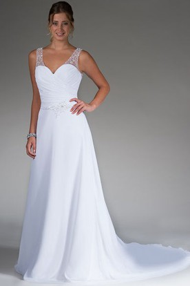 V Neck Pearl Straps A-Line Bridal Gown With Illusion Back