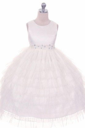 Tea-Length Beaded Tulle&Organza Flower Girl Dress With Ruffles