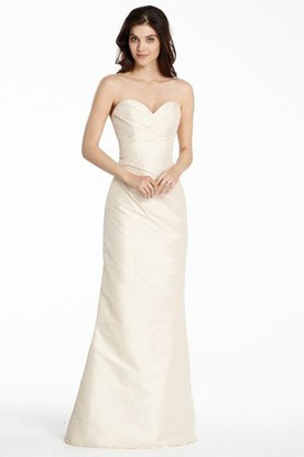 Sleeveless Sweetheart Criss-Cross Satin Bridesmaid Dress With Low-V Back
