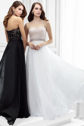 Appliqued Strapless Chiffon Prom Dress With Beading And Waist Jewellery