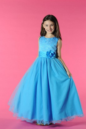 Flower Girl Scoop Neck A-line Tulle Long Dress With Waist Flower