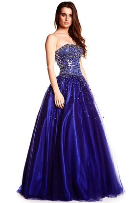 A-Line Beaded Strapless Long Sleeveless Sequins Prom Dress