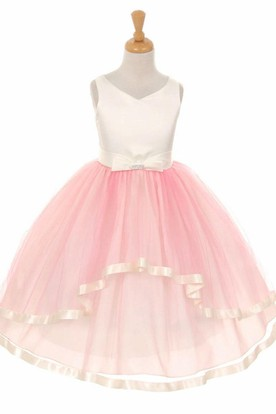 Peplum Tea-Length Bowed Tiered Tulle&Satin Flower Girl Dress With Sash