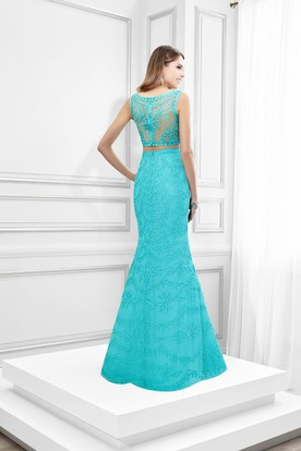 Mermaid Appliqued Sleeveless Scoop Neck Lace Prom Dress
