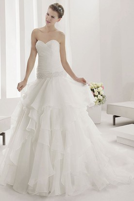 Sweetheart Ruched Bodice Wrop Waist Bridal Gown With Layered Tulle Skirt
