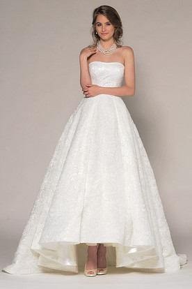 High-Low Strapless Beaded Lace Wedding Dress With V Back