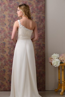 Ruched Bodice One-Shoulder Chiffon Wedding Dress With Beadings And Side Draping