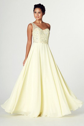 Sleeveless Beaded One Shoulder Chiffon Prom Dress