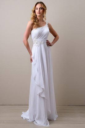 Side Draping A-Line Chiffon Wedding Dress With One-Shoulder And Ruched Bodice