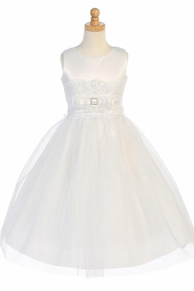 Tea-Length Bowed Tiered Tulle&Organza Flower Girl Dress