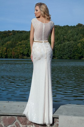 Pencil Appliqued Sleeveless Long Queen-Anne Lace Prom Dress With Illusion Back