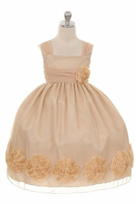 Tea-Length Floral Floral Empire Pleated Flower Girl Dress With Ribbon