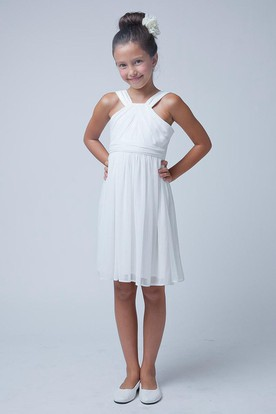 Knee-Length Pleated Sleeveless Jersey Flower Girl Dress