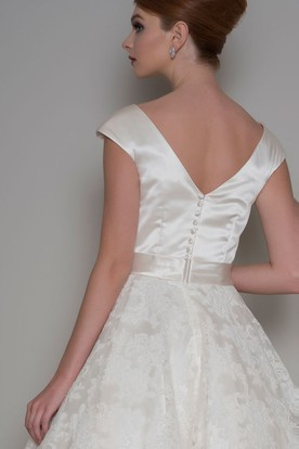 A-Line Tea-Length Appliqued Cap Sleeve Scoop Neck Satin Wedding Dress