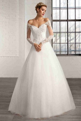 A-Line Off-The-Shoulder Illusion-Sleeve Tulle Wedding Dress